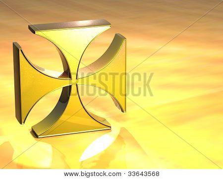 3D Maltese Cross Gold Sign