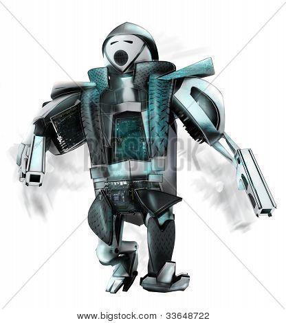 Robot with gun blue silver running