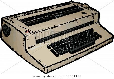 Electric Typewriter Illustration