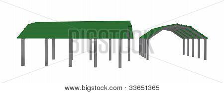 two views green carport