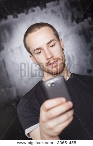 Man Read Sms On Cell Phone