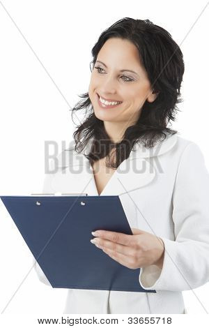 Smiling And Happy Woman With File