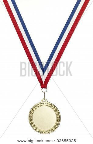 Blank Gold Sports Medal With Clipping Path Isolated On White With Copy Space
