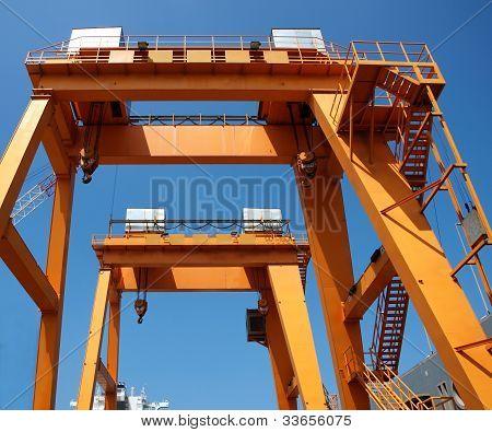 Two Shipyard Gantry Cranes