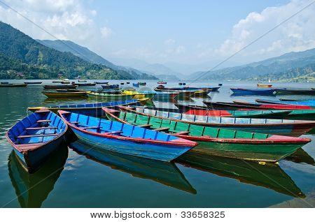 Rowboat At Phewa Lake,pokhara,nepal