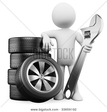 3D White People. Car Mechanic