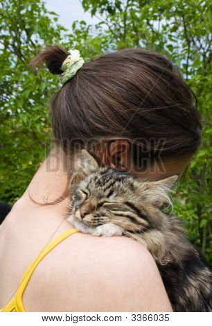 Girl And Her Cat