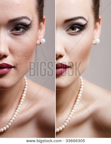 Retouch - face of beautiful young woman before and after retouch