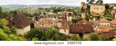 Puy-L'Evegue Town, France, View On Valley Of  Lot River