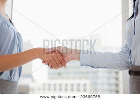 Two women in suits shaking each others hands