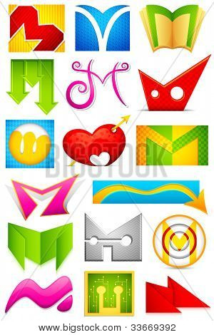 illustration of set of different colorful icon for alphabet M