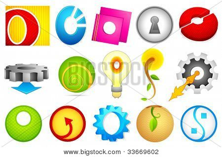 illustration of set of different colorful icon for alphabet O