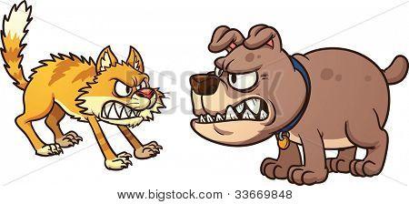 Perro de pelea de gato. Ilustración de vector con gradientes simples. Gato y perro en separan la capa para fácil