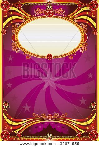 Baroque circus background. A purple circus background for a poster with a vortex. Writing your message !
