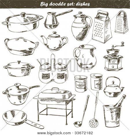 vector set : doodle - kitchen