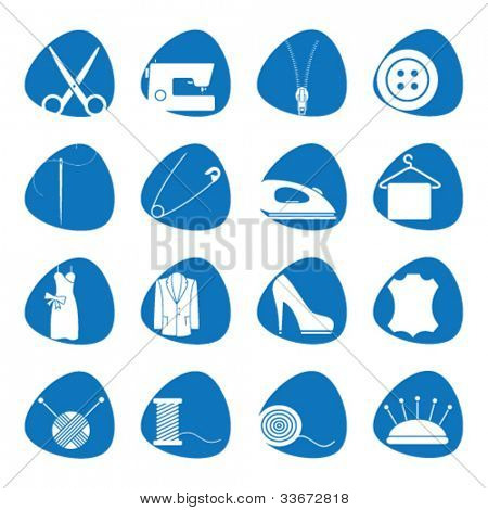 Vector illustration icons on sewing