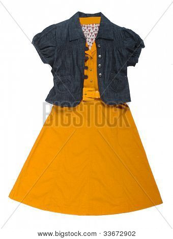 jeans jacket and yellow dress
