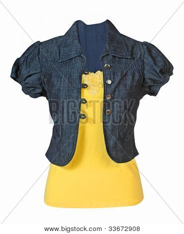 jeans blouse isolated on white