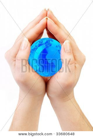 women holds globe in hands