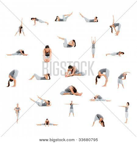 Foto Set von sporty Woman isolated on white background