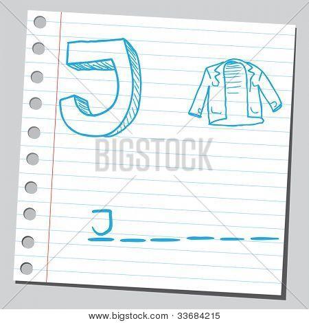 Letter J for jacket