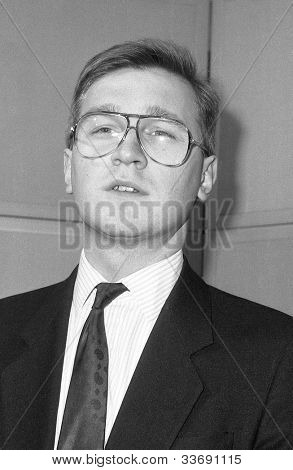 LONDON - DECEMBER 12: Andy Raca, Conservative party Parliamentary Candidate for Southwark and Bermondsey,  attends a photo call at Conservative Central Office on December 12, 1990 in London.