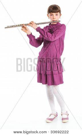 Girl playing transverse flute