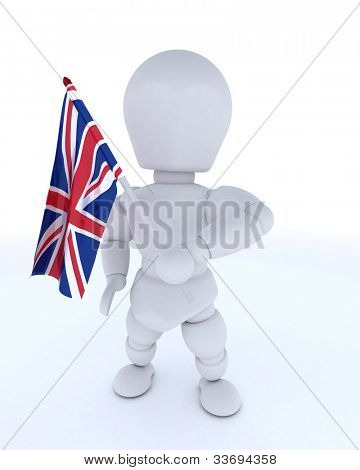 3D render of Man with Union Jack Flag