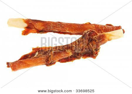 Yummy Dog Treats (Dog Food, Dog Chews, Snack) Chicken Munch sticks, Chicken flavor, isolated on white