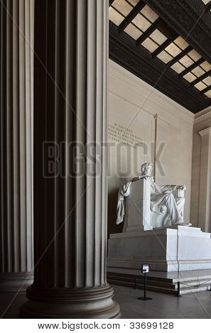 Statue of Abraham Lincoln in the Lincoln Memorial Washington DC USA