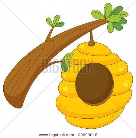 cartoon of a beehive hanging from a branch - EPS VECTOR format also available in my portfolio.