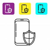 Black Line Smartphone, Mobile Phone With Security Shield Icon Isolated On White Background. Security poster