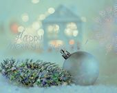 Greeting Card Merry Christmas. Ball And Beautiful House Or Chalet And Blurred Background Of Winter D poster