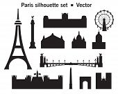 Vector Set Of Silhouette Paris Landmarks. Vector Illustration In Black Color Isolated On White Backg poster