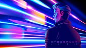 Cyberpunk Light Trails Effect In Vector poster