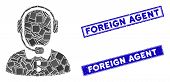 Mosaic Operator Icon And Rectangular Foreign Agent Seal Stamps. Flat Vector Operator Mosaic Icon Of  poster