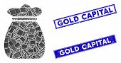 Mosaic Money Bag Icon And Rectangular Gold Capital Stamps. Flat Vector Money Bag Mosaic Pictogram Of poster