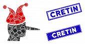 Mosaic Joker Pictogram And Rectangular Cretin Stamps. Flat Vector Joker Mosaic Pictogram Of Scattere poster