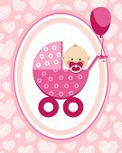 Newborn Baby, Girl, Greeting Card, Pink Hearts, Vector. A Little Girl In A Pink Stroller. A Pink Bal poster