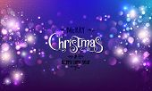 Merry Christmas Text On Dark Glitter Background With Xmas Decorations Glowing Garlands, Light, Stars poster