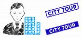 Mosaic City Architect Icon And Rectangle City Tour Seal Stamps. Flat Vector City Architect Mosaic Ic poster