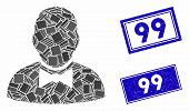 Mosaic Waiter Pictogram And Rectangle 99 Seals. Flat Vector Waiter Mosaic Pictogram Of Scattered Rot poster