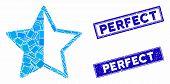Mosaic Rating Star Pictogram And Rectangular Perfect Seal Stamps. Flat Vector Rating Star Mosaic Pic poster