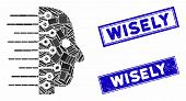 Mosaic Artificial Intelligence Pictogram And Rectangular Wisely Seal Stamps. Flat Vector Artificial  poster