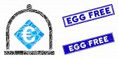 Mosaic Euro Deposit Icon And Rectangular Egg Free Stamps. Flat Vector Euro Deposit Mosaic Icon Of Ra poster