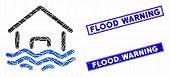 Mosaic Flood Disaster Icon And Rectangular Flood Warning Seals. Flat Vector Flood Disaster Mosaic Ic poster