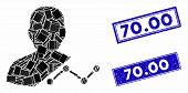 Mosaic User Analytics Pictogram And Rectangular 70.00 Rubber Prints. Flat Vector User Analytics Mosa poster