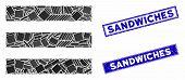 Mosaic Menu Items Icon And Rectangle Sandwiches Seal Stamps. Flat Vector Menu Items Mosaic Icon Of S poster