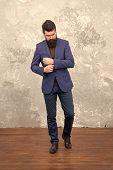 Male Fashion Model. Mature Businessman Walking. Modern Life. Tailor Or Fashion Designer. Brutal Bear poster