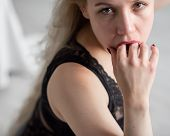 Beautiful Blonde In Black Underwear Sucks A Finger Imagining A Man. A Hint Of Oral Sex. poster
